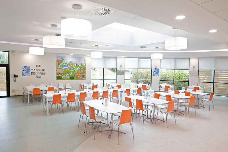 ROBUS ETERNITY 18W LED Downlights and ROBUS VIBE LED Strip Lights installed throughout the canteen of Takeda Ireland, Grange Castle
