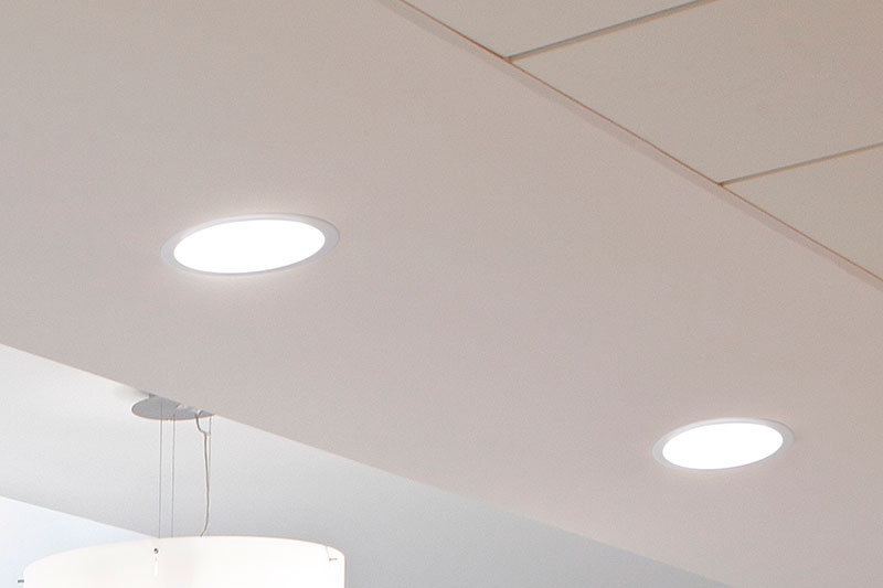 ROBUS ETERNITY 18W LED Downlights installed throughout the canteen of Takeda Ireland, Grange Castle