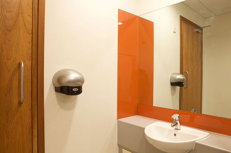 ROBUS HELM Hand Dryers installed throughout the bathrooms of Takeda Ireland, Grange Castle
